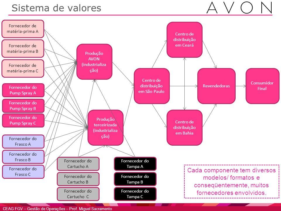 Sistema de valores Fornecedor de matéria-prima A. Centro de distribuição em Ceará. Fornecedor de matéria-prima B.
