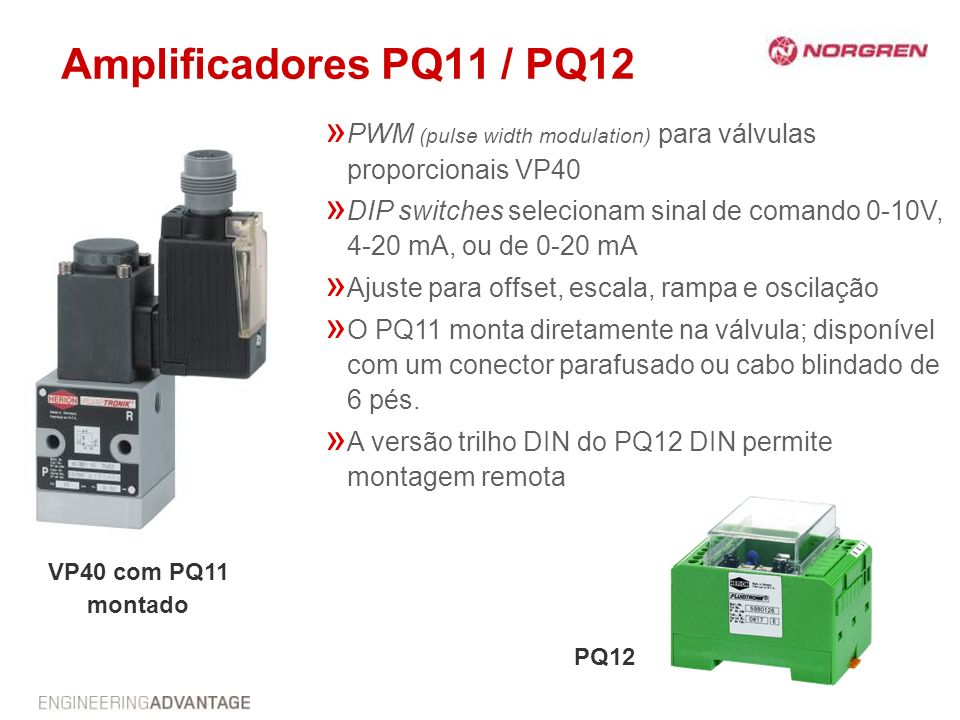 Amplificadores PQ11 / PQ12 PWM (pulse width modulation) para válvulas proporcionais VP40.