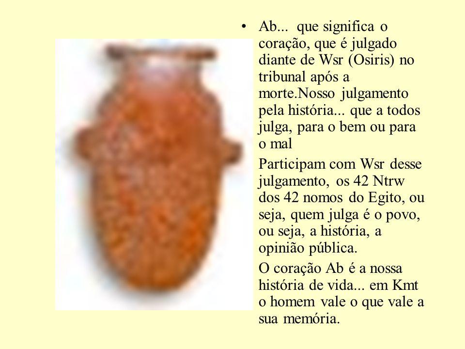 Ab... que significa o coração, que é julgado diante de Wsr (Osiris) no tribunal após a morte.Nosso julgamento pela história... que a todos julga, para o bem ou para o mal