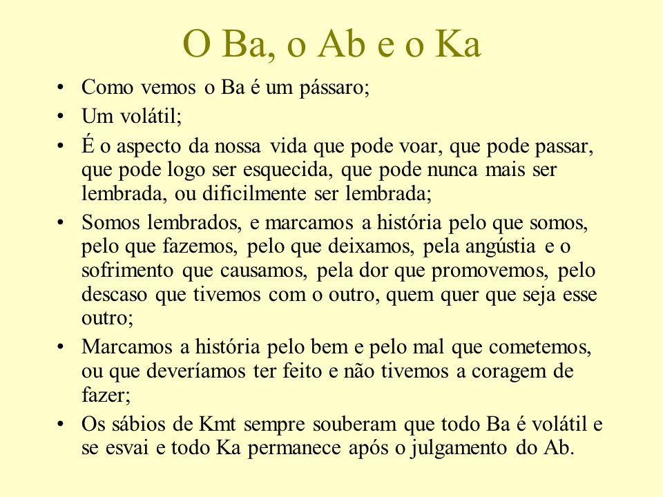 O Ba, o Ab e o Ka Como vemos o Ba é um pássaro; Um volátil;