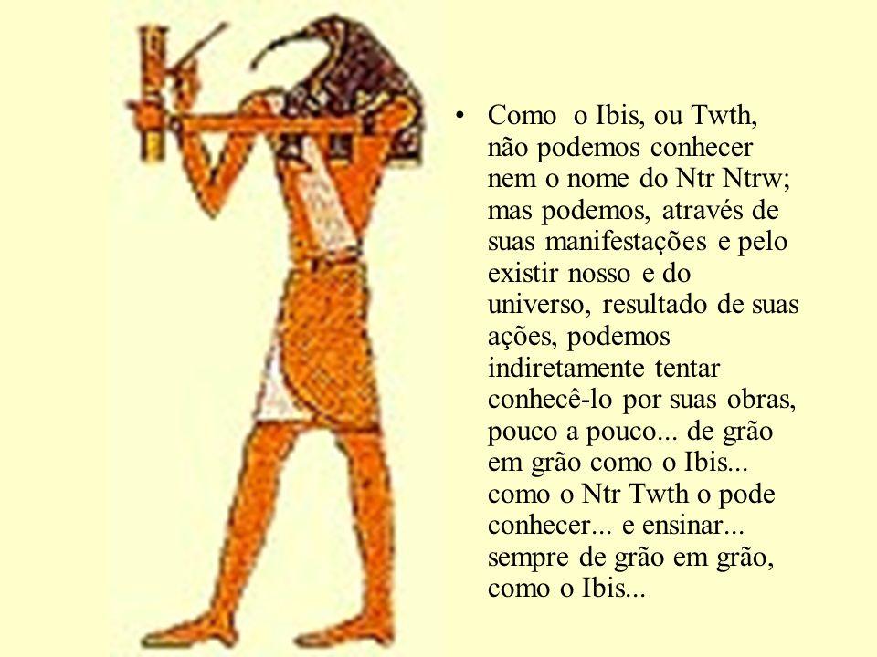 Como o Ibis, ou Twth, não podemos conhecer nem o nome do Ntr Ntrw; mas podemos, através de suas manifestações e pelo existir nosso e do universo, resultado de suas ações, podemos indiretamente tentar conhecê-lo por suas obras, pouco a pouco...