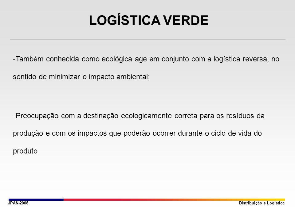 LOGÍSTICA VERDE Também conhecida como ecológica age em conjunto com a logística reversa, no sentido de minimizar o impacto ambiental;