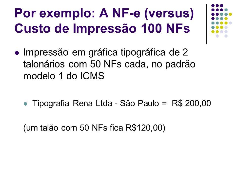 Por exemplo: A NF-e (versus) Custo de Impressão 100 NFs