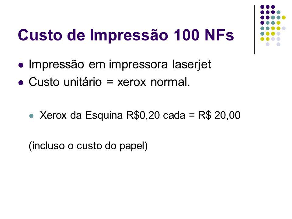 Custo de Impressão 100 NFs Impressão em impressora laserjet