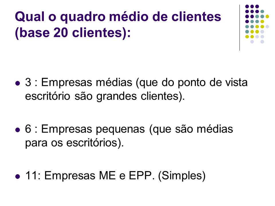 Qual o quadro médio de clientes (base 20 clientes):