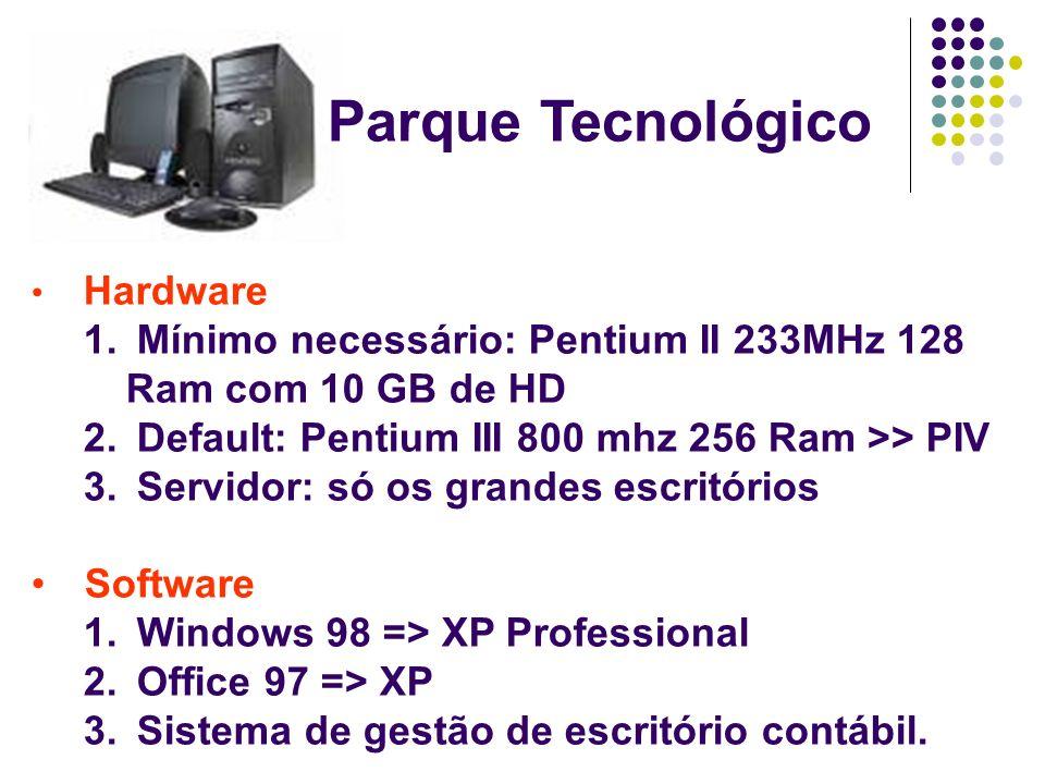 Parque Tecnológico Hardware. Mínimo necessário: Pentium II 233MHz 128 Ram com 10 GB de HD. Default: Pentium III 800 mhz 256 Ram >> PIV.