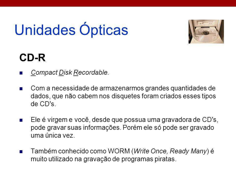 Unidades Ópticas CD-R Compact Disk Recordable.