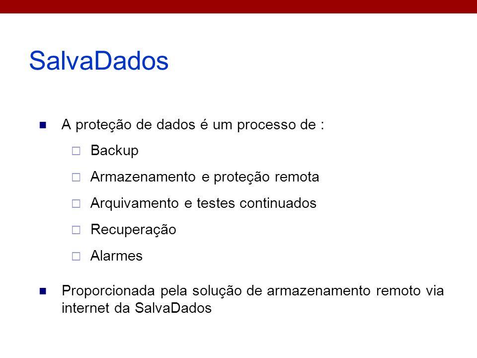 SalvaDados A proteção de dados é um processo de : Backup