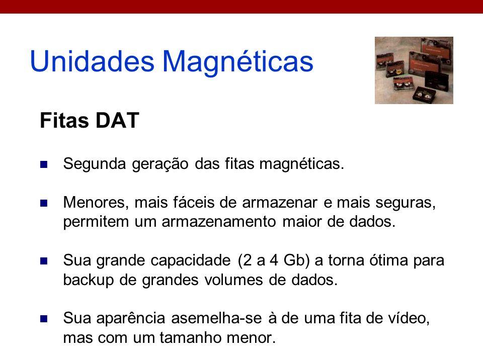 Unidades Magnéticas Fitas DAT Segunda geração das fitas magnéticas.