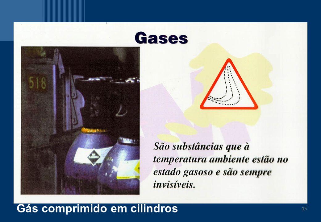 Gás comprimido em cilindros