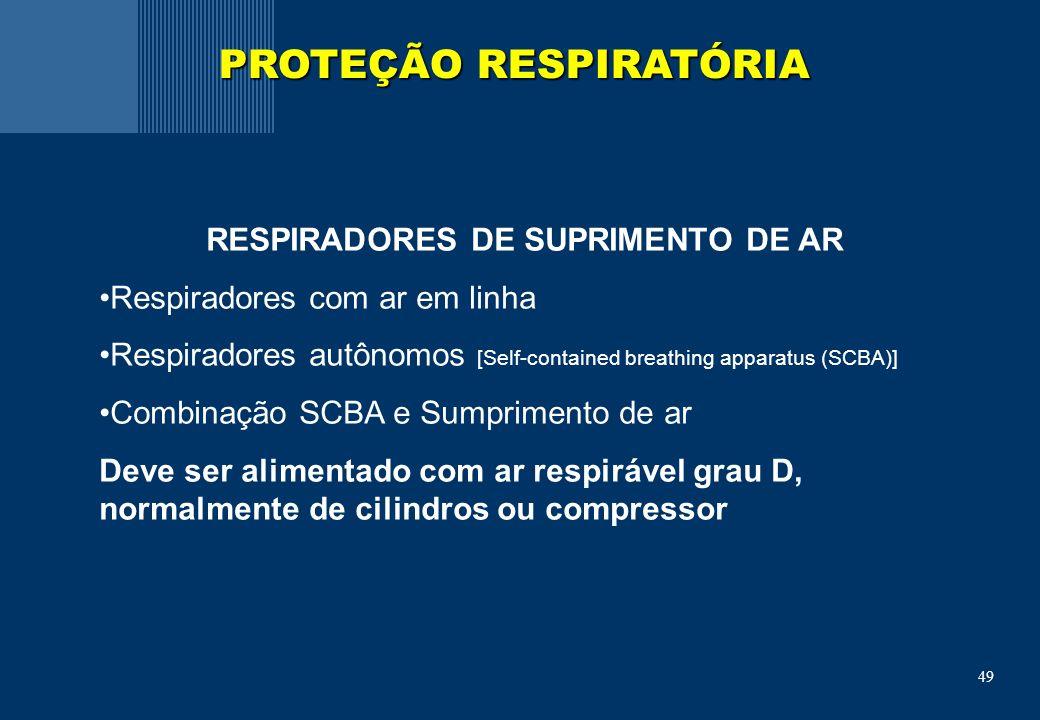 PROTEÇÃO RESPIRATÓRIA RESPIRADORES DE SUPRIMENTO DE AR