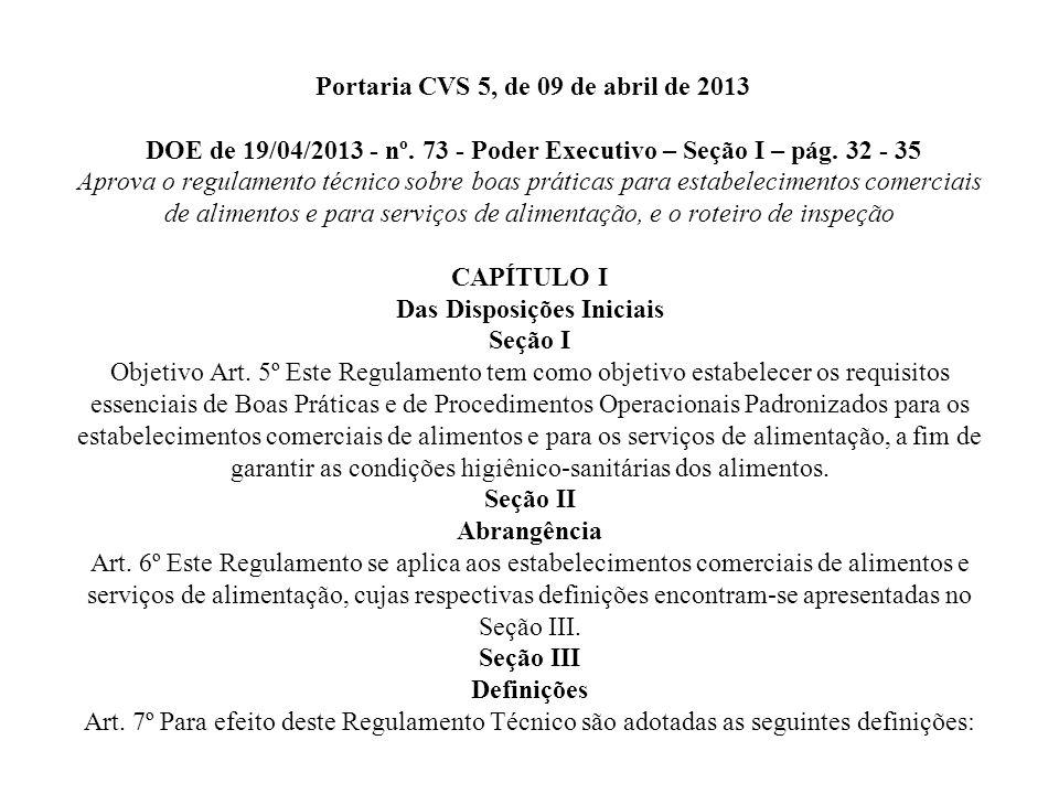 Portaria CVS 5, de 09 de abril de 2013 DOE de 19/04/2013 - nº
