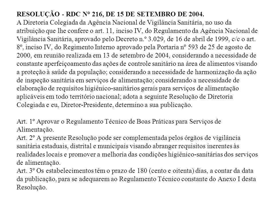 RESOLUÇÃO - RDC N° 216, DE 15 DE SETEMBRO DE 2004