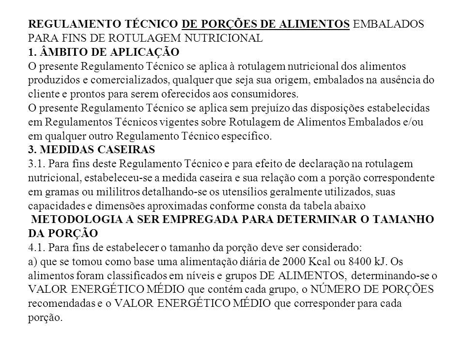 REGULAMENTO TÉCNICO DE PORÇÕES DE ALIMENTOS EMBALADOS PARA FINS DE ROTULAGEM NUTRICIONAL 1.