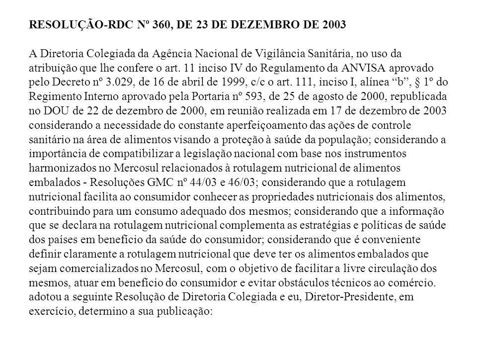 RESOLUÇÃO-RDC Nº 360, DE 23 DE DEZEMBRO DE 2003 A Diretoria Colegiada da Agência Nacional de Vigilância Sanitária, no uso da atribuição que lhe confere o art.