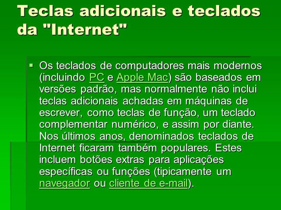 Teclas adicionais e teclados da Internet