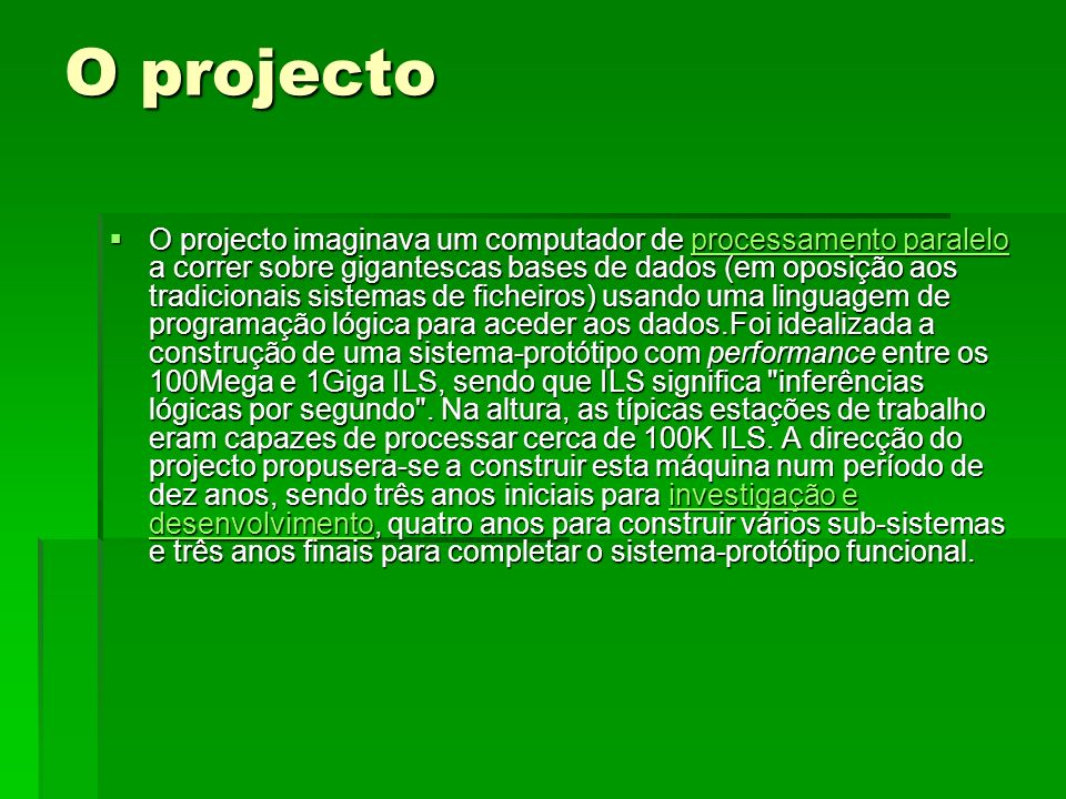 O projecto