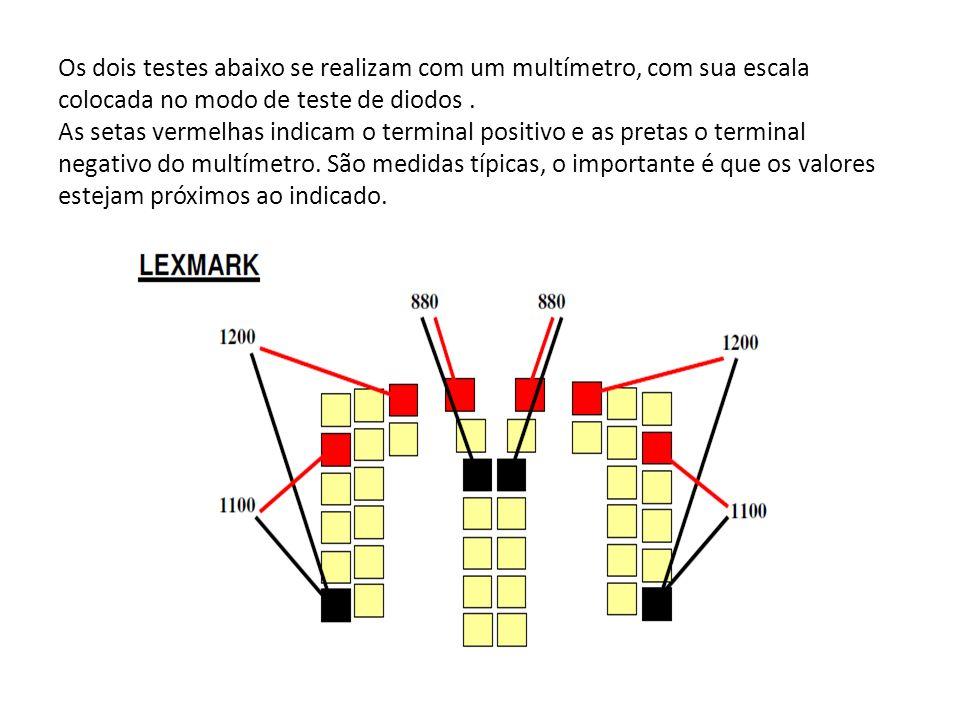 Os dois testes abaixo se realizam com um multímetro, com sua escala colocada no modo de teste de diodos .