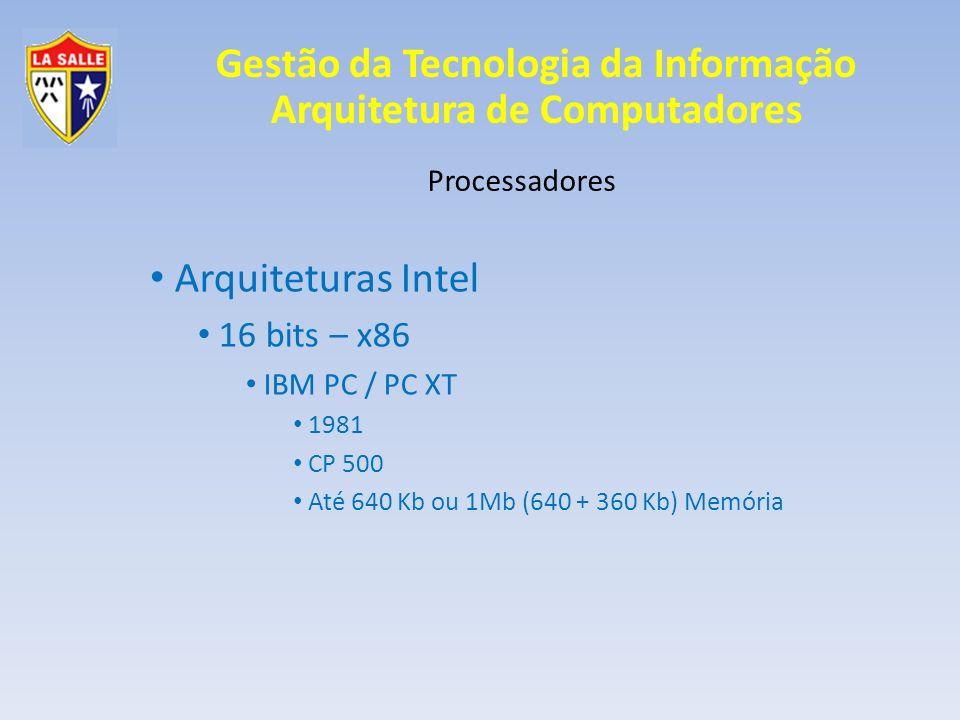Arquiteturas Intel 16 bits – x86 Processadores IBM PC / PC XT 1981