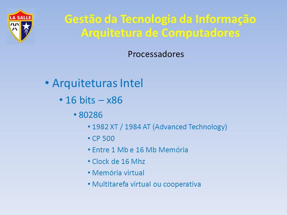 Arquiteturas Intel 16 bits – x86 Processadores 80286