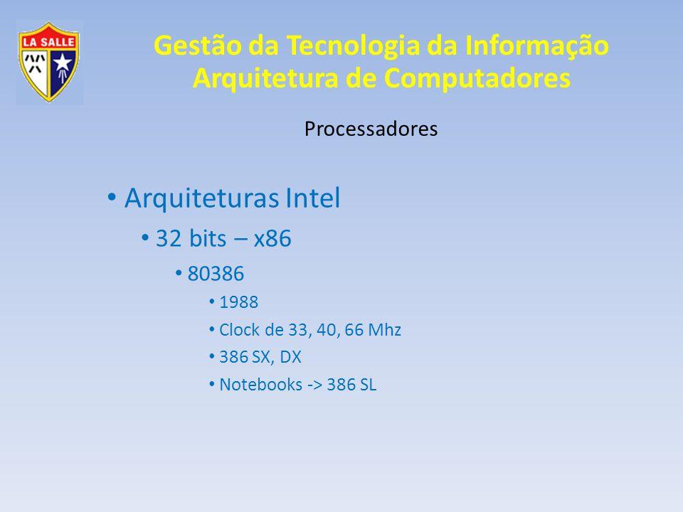 Arquiteturas Intel 32 bits – x86 Processadores 80386 1988