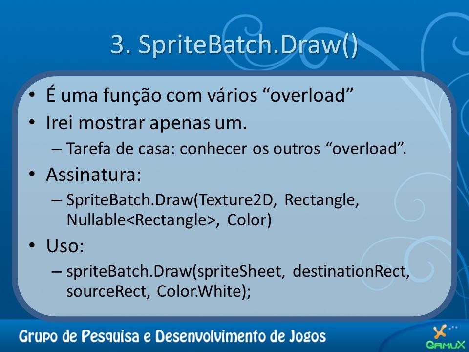 3. SpriteBatch.Draw() É uma função com vários overload