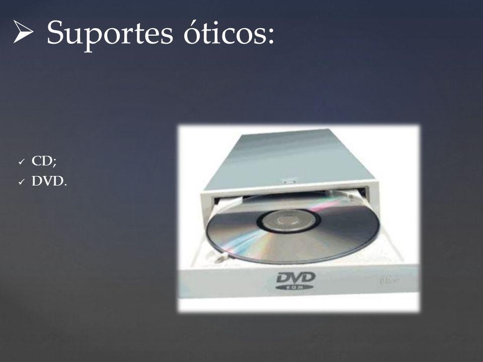 Suportes óticos: CD; DVD.