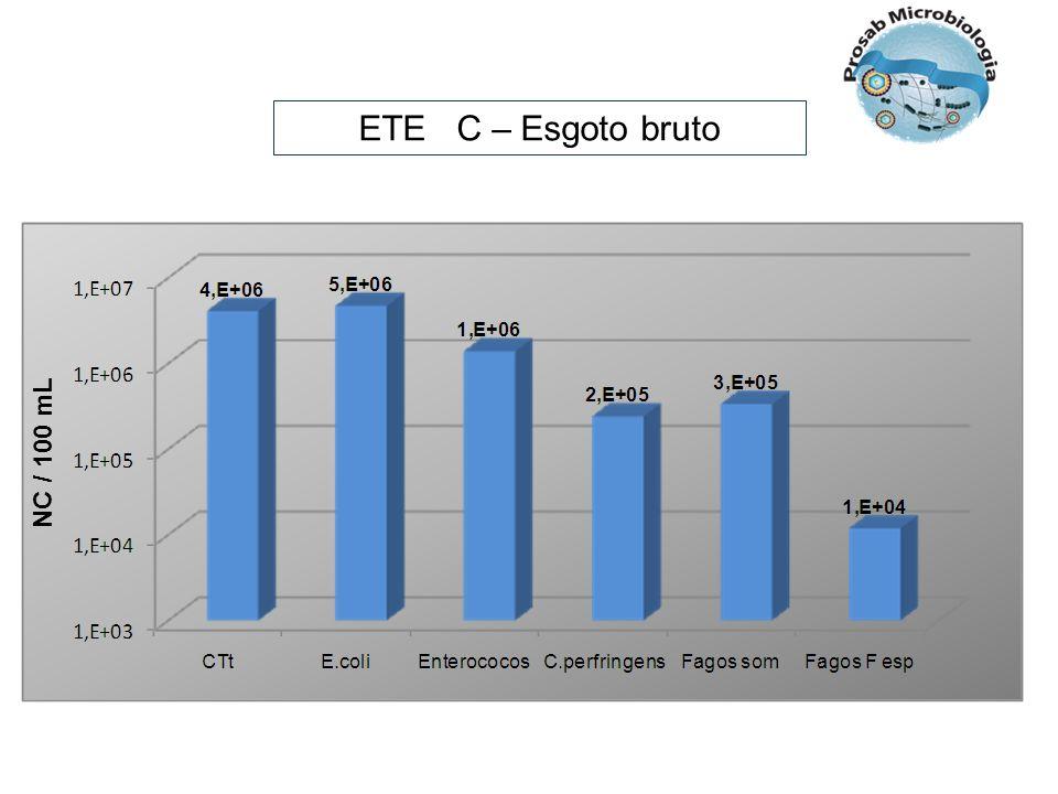 ETE C – Esgoto bruto NC / 100 mL