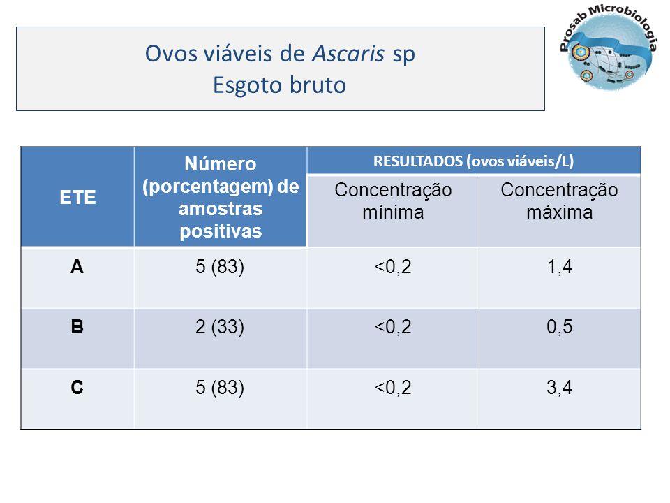 Número (porcentagem) de amostras positivas RESULTADOS (ovos viáveis/L)