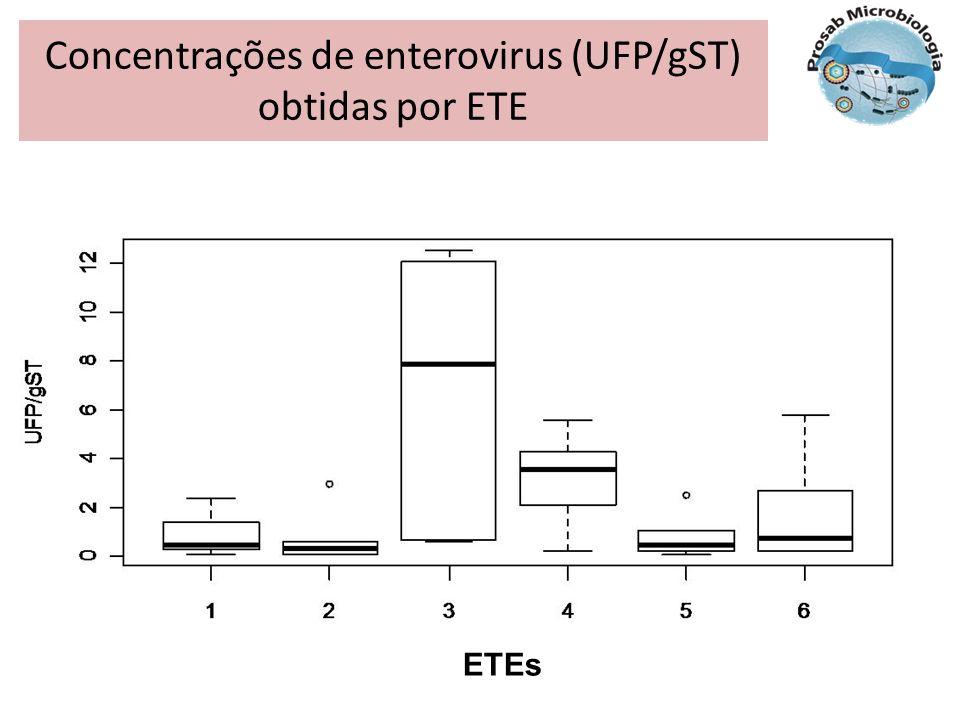 Concentrações de enterovirus (UFP/gST) obtidas por ETE