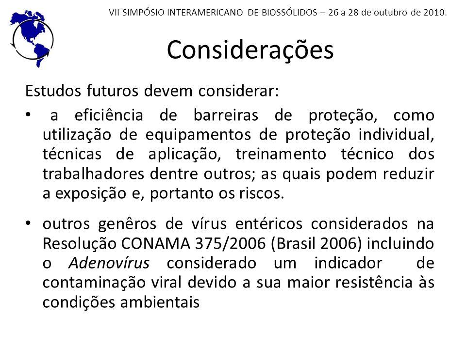 Considerações Estudos futuros devem considerar: