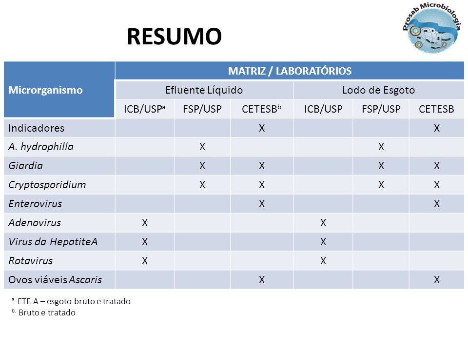 RESUMO Microrganismo MATRIZ / LABORATÓRIOS Efluente Líquido