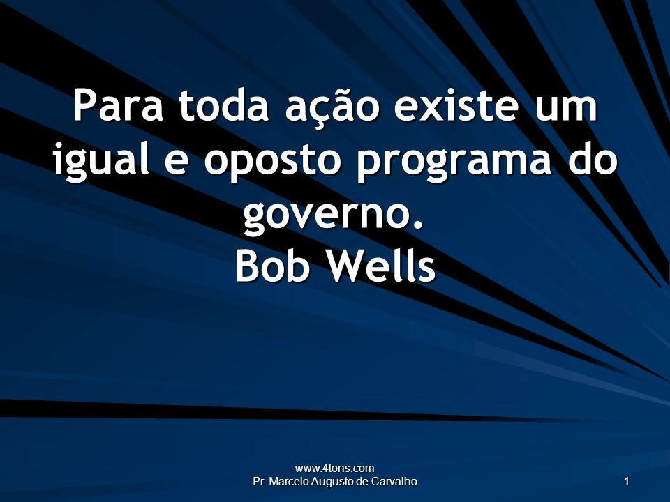 Para toda ação existe um igual e oposto programa do governo. Bob Wells