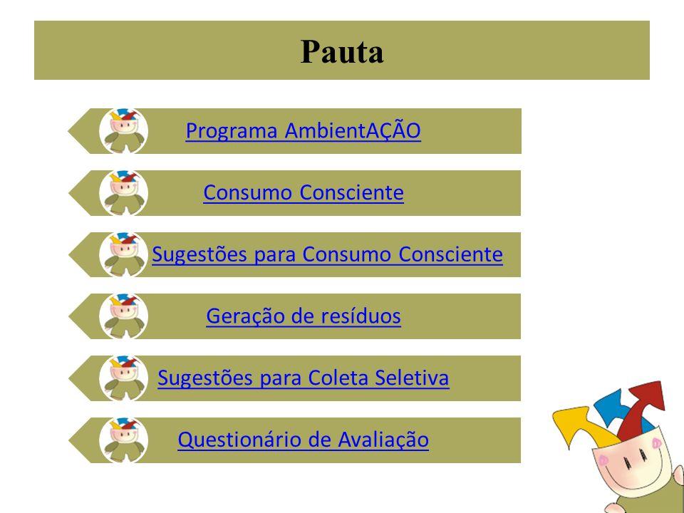Pauta Programa AmbientAÇÃO Consumo Consciente