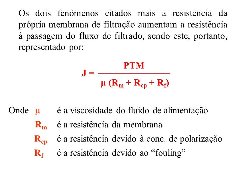 Os dois fenômenos citados mais a resistência da própria membrana de filtração aumentam a resistência à passagem do fluxo de filtrado, sendo este, portanto, representado por:
