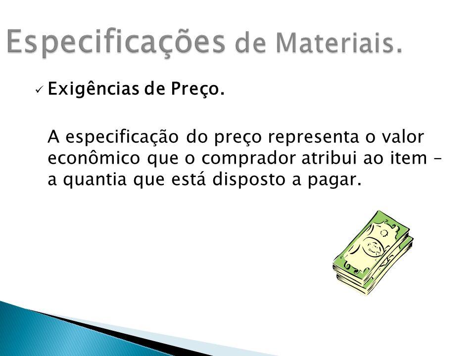 Especificações de Materiais.