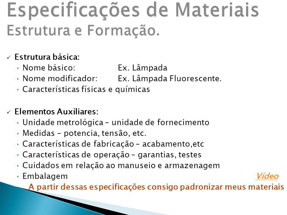 Especificações de Materiais Estrutura e Formação.