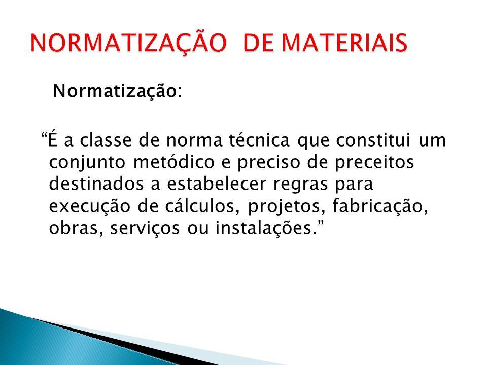 NORMATIZAÇÃO DE MATERIAIS