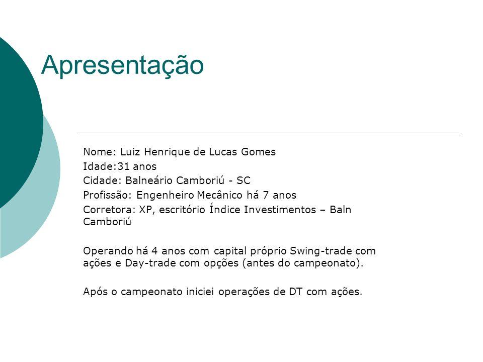 Apresentação Nome: Luiz Henrique de Lucas Gomes Idade:31 anos