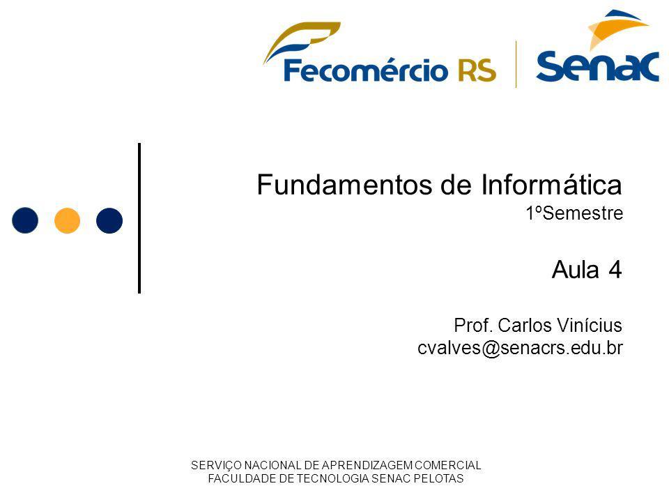 Fundamentos de Informática 1ºSemestre Aula 4 Prof