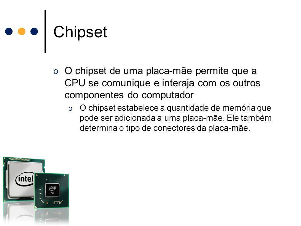 Chipset O chipset de uma placa-mãe permite que a CPU se comunique e interaja com os outros componentes do computador.