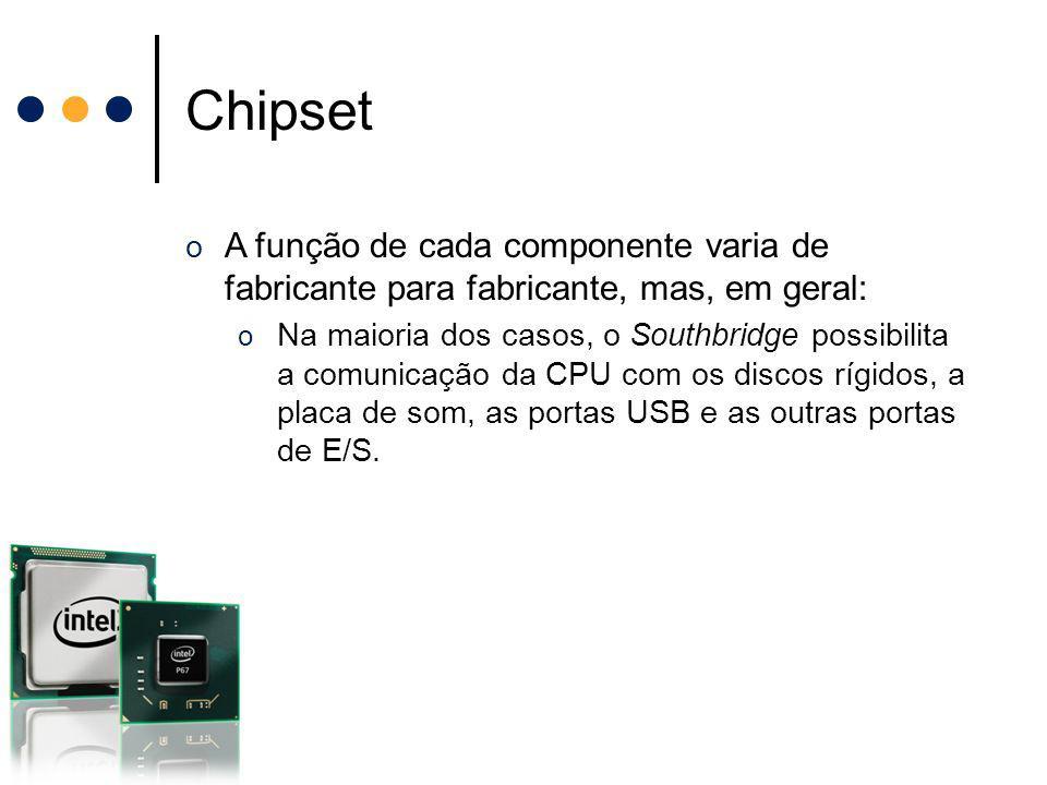 Chipset A função de cada componente varia de fabricante para fabricante, mas, em geral: