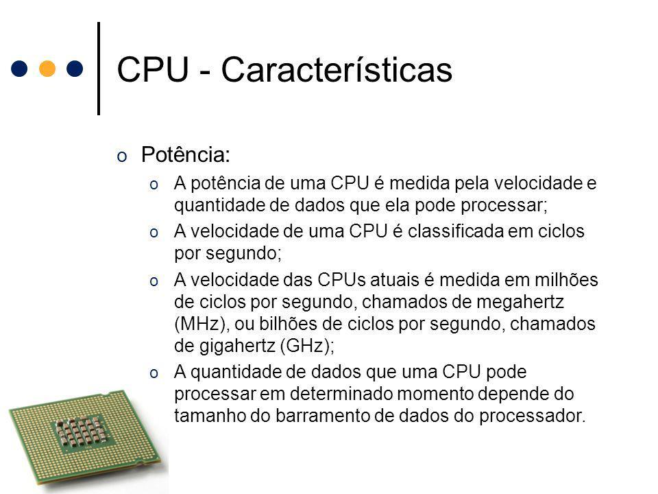 CPU - Características Potência: