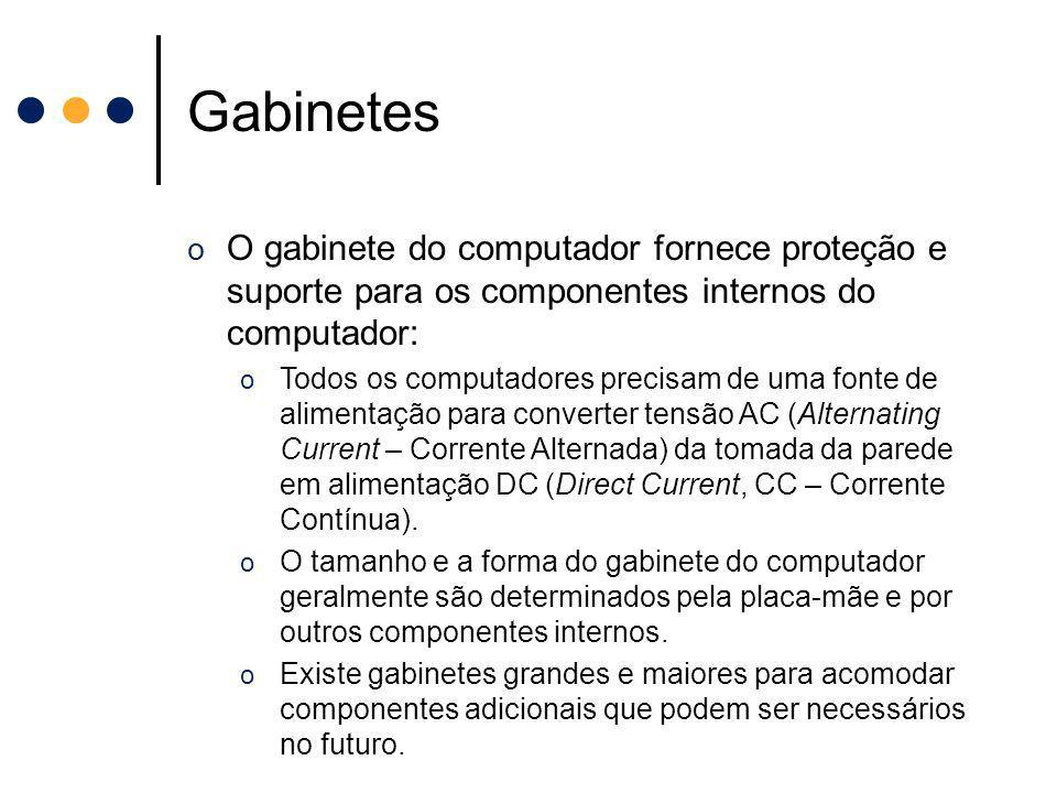 Gabinetes O gabinete do computador fornece proteção e suporte para os componentes internos do computador: