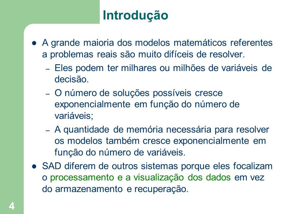 Introdução A grande maioria dos modelos matemáticos referentes a problemas reais são muito difíceis de resolver.