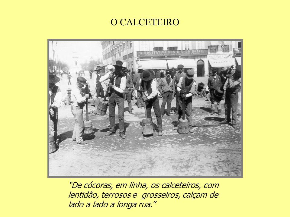 O CALCETEIRO De cócoras, em linha, os calceteiros, com lentidão, terrosos e grosseiros, calçam de lado a lado a longa rua.