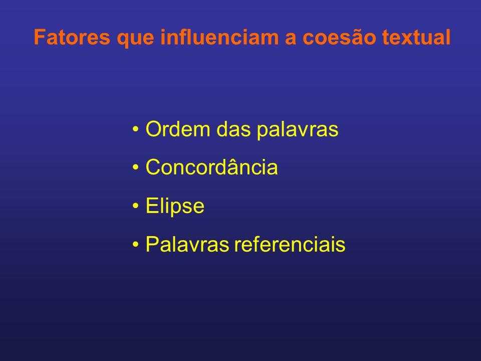 Fatores que influenciam a coesão textual