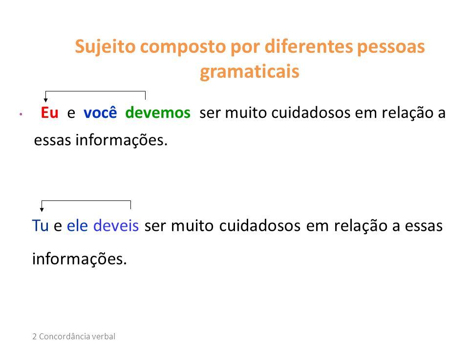 Sujeito composto por diferentes pessoas gramaticais