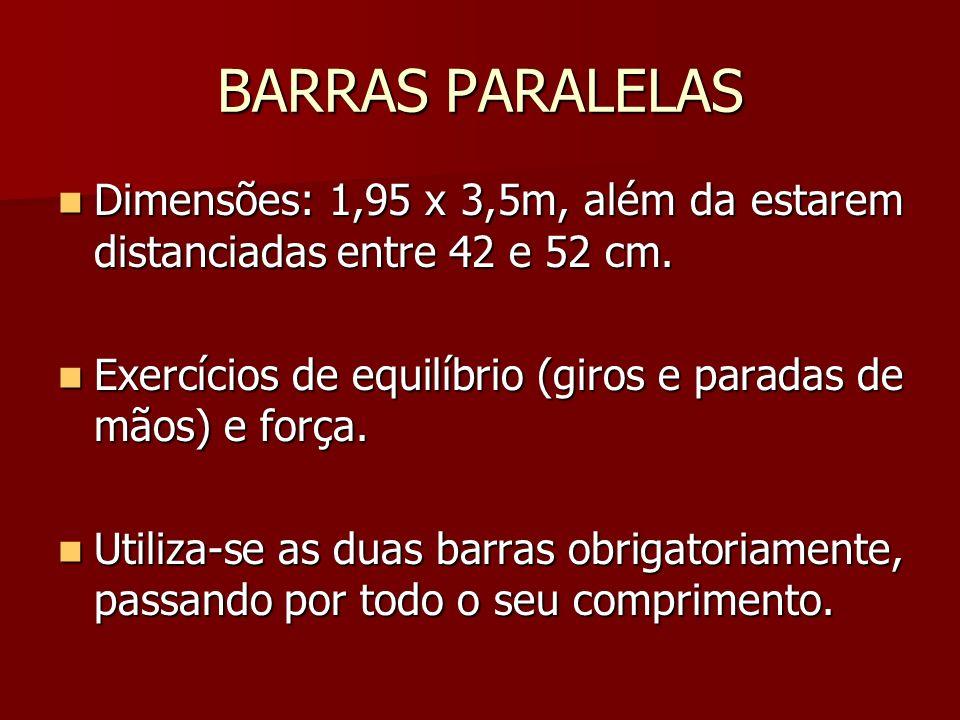 BARRAS PARALELAS Dimensões: 1,95 x 3,5m, além da estarem distanciadas entre 42 e 52 cm. Exercícios de equilíbrio (giros e paradas de mãos) e força.
