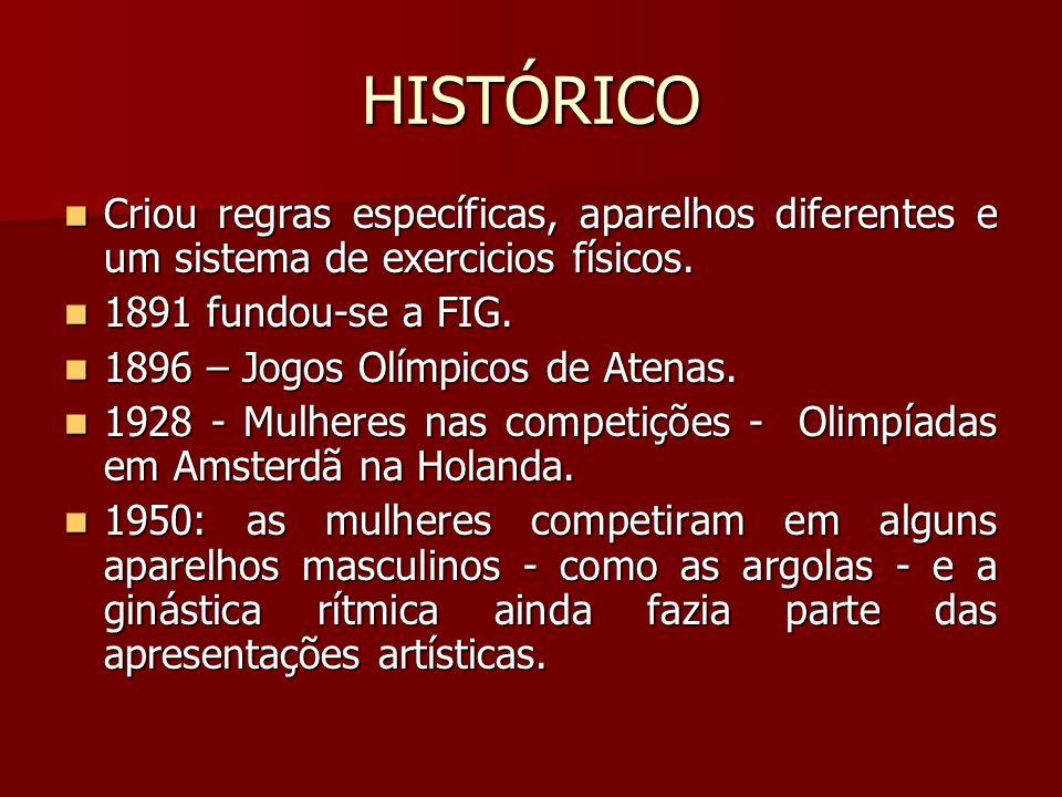 HISTÓRICO Criou regras específicas, aparelhos diferentes e um sistema de exercicios físicos. 1891 fundou-se a FIG.